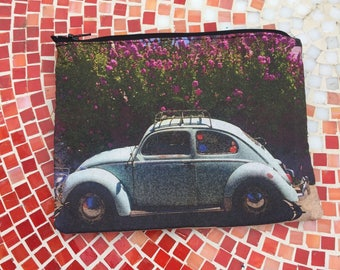 Vw Bug Zipper Pouch, Accessory Case
