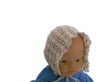 Off White lace crochet bonnet, christening baby bonnet, baptism baby bonnet, crochet christening bonnet, baby hat