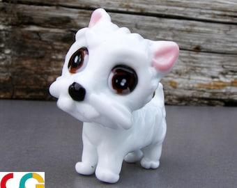 Glass dog-Lampwork glass dog-Dog bead-West highland white terrier bead-cane di vetro-Chien en verre