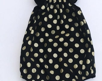 ONSALE Black with Gold Spots Romper Playsuit - size 3
