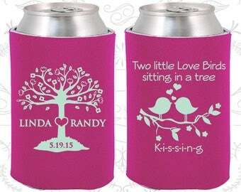 Two little love birds sitting in a tree Kissing, Wedding Decor, Love Tree, Love Birds Wedding, Wedding Can Coolers (249)