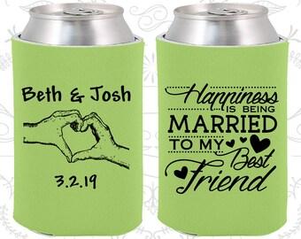 Happiness is Being Married to my Best Friend, Custom Wedding, Heart, Romantic Wedding, Beverage Insulators (511)