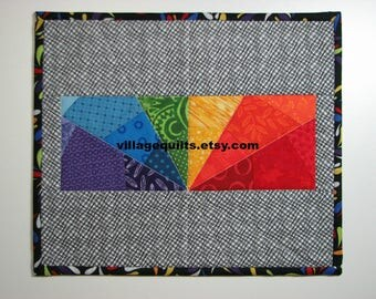 Modern Quilted Mug Rug, Quilted Candle Mat, Rainbow Prism Mini Quilt, Quiltsy Handmade