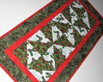 Christmas Quilted Table Runner, Holly Patchwork Table Mat, Reversible Holiday Table Quilt, 14 in. x 30 in., Quiltsy Handmade