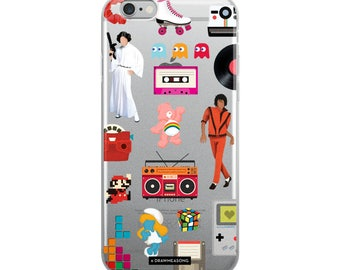 Acceptable in the 80s Transparent iPhone 5/5s/Se, 6/6s, 6/6s Plus Case, Pop Art Dance Electro Song, Eighties Fun Music Art, Pop Culture Gift