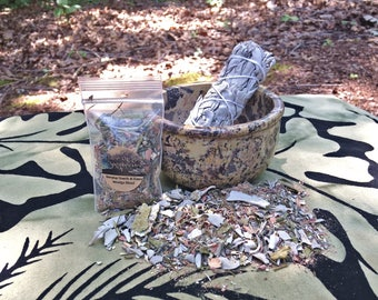 "Soapstone Smudging Bowl, 4"" White Sage Wand, and FREE sample blend"
