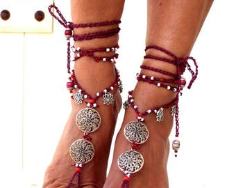 """SALES-20% Barefoot Sandals, """"Red planet"""" Barefoot Beach Jewelry, gift for her, Hippie Sandals, Foot Jewelry, Toe Thong, festival accessories"""
