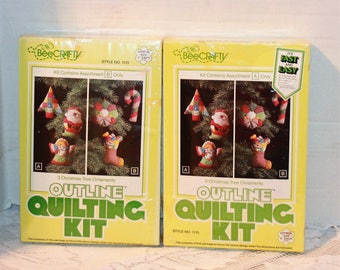 """2 Vintage Bee Crafty Tree Ornament Outline Quilting Kits Style #1115 Each makes 3 ornaments 5"""" high"""