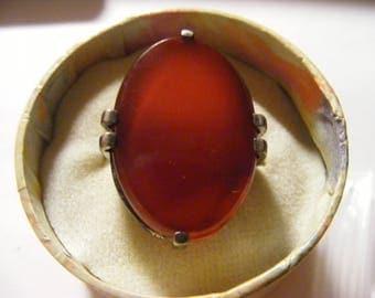antique modernist sterling silver  carnelin oval ring 5 1/2