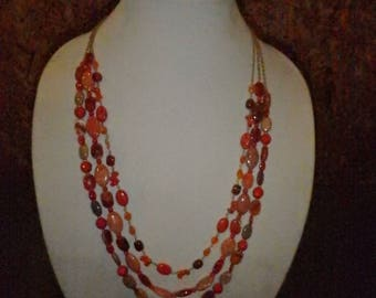 COLD WATER CREEK  triple strand natural  red stone necklace & bracelet  set