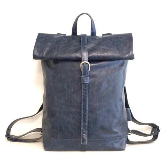 Leather backpack , rolling backpack , backpack leather , blue leather backpack