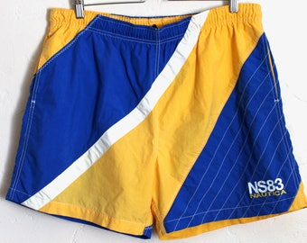 Vintage Nautica Swim Trunks Color Block Blue Yellow Mens Swim Shorts Size Large