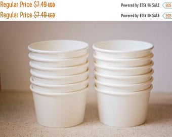 ON SALE - 15% OFF 20 White Ice Cream Cups 6 oz - Additional Items Ship Free!!!