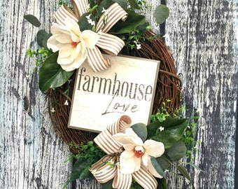 Magnolia Wreath, Everyday Wreaths for Year Round, Front Door Wreaths for Spring and Summer, Mother's Day Farmhouse Wreath