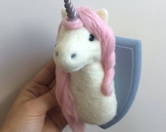 Custom Unicorn head Trophy Handmade Needle Felted small faux taxidermy