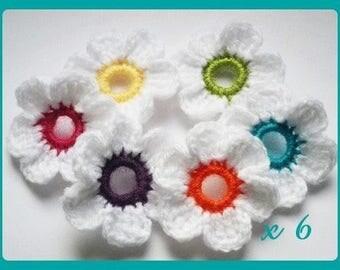 Set of 6 flowers applique crochet woolen 5 cm