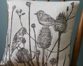 Linen bird and teasels print, wild flowers, botanical print cushion cover in green, natural linen cushion cover