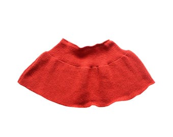 FRENCH VINTAGE 80's / for kids / winter mini skirt / brick red / new old stock / size 8 years