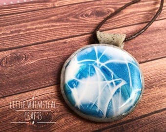 Blue Swirl Pendant - Faux Larimar Necklace - Blue Cabochon Pendant - Gift for Her
