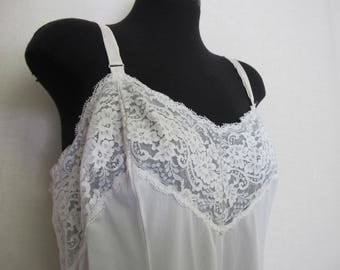 Mad Men Slip 1960s Lace Slip Pin up Slip White Slip Plus Size 46