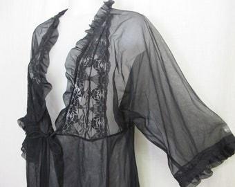 Black Sheer Robe Peignoir Goth Chiffon Robe Coverup Sheer Negligee Nylon