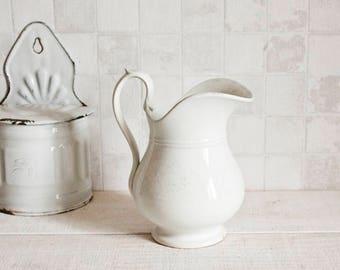 Gorgeous French vintage white pitcher - Shabby chic ceramic
