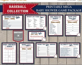 SALE INSTANT DOWNLOAD Baseball Mega Baby Shower Game Package / 9 Items / Printable / Baseball Collection / Item #905