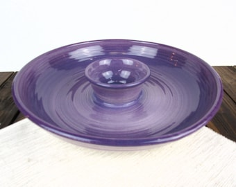 Purple ceramic chip and dip platter, pottery chip and dip tray, chip and dip bowl, appetizer server, salsa bowl