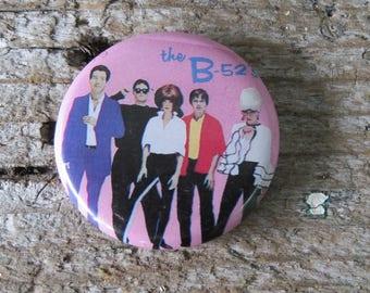 "Vintage B-52's Button- Pin B 52's 1 1/4"" Pin back button"
