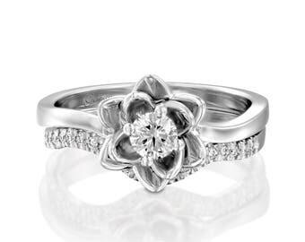 Flower Engagement Set, Wedding Set, Band Set, Diamond Ring Set, Unique Ring Set, Engagement Ring, White Gold Rings, Gold Set