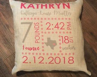 Baby Announcement Pillow; Baby Newborn Stats; Faux Burlap Nursery Pillow