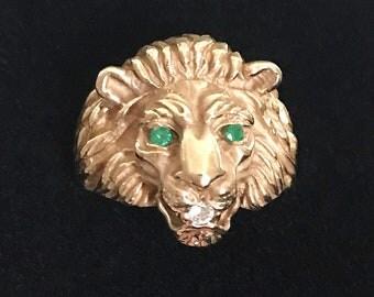 Vintage Gold Lion Ring