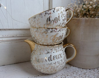 French Vintage cream and gold marriage / couples coffee set.  Moi, Toi, Nous Deux coffee / tea set. Marriage gift. Vintage wedding gift