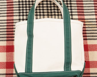 80s/90s Vintage LL Bean Freeport Maine Boat and Tote Bag Made in USA Green/White
