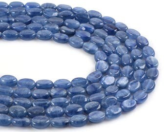 "0873  8mm Blue Kyanite flat oval loose gemstone beads 16"""
