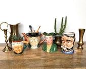 Vintage Mugs | Set of 4 Toby Head Mugs & Teapot  | Japan Handled Vessels | Serveware, Home Decor, Planters, Holders, Collectibles