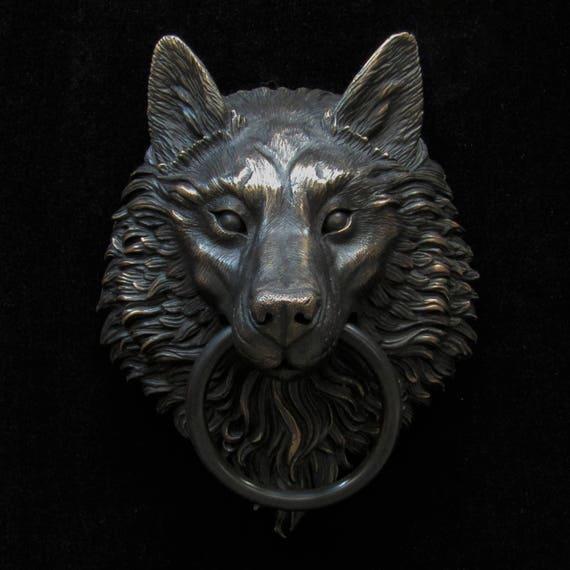 Black rubbed bronze wolf head door knocker - Wolf head door knocker ...