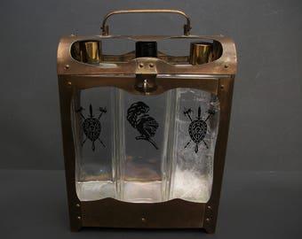 3 Bottle Decanter Set Brass Locking Case Music Box Suit of Armor Medieval Vintage Home Bar