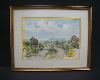J Roy White Original Watercolor Painting Farm at Moody, Texas Hill Country