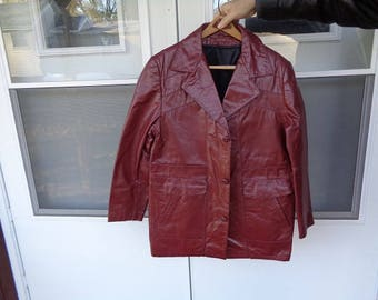 Mans 1960s vintage brown 3 button vintage leather jacket,coat by Excelled  size 44 or Large ,nice