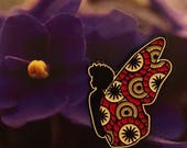 Black butterfly - crimson and cream enamel pin