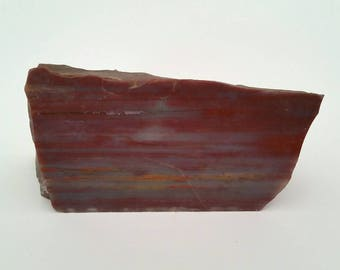 Polished Rock Paperweight, Rock Slice, Layered Red Jasper, Nature Decor