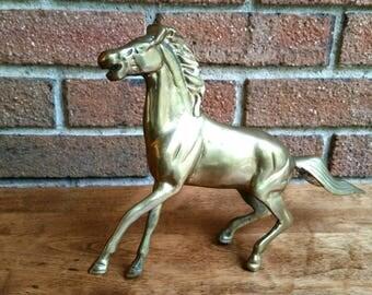 Vintage Brass Horse Figurine, Stallion Statue