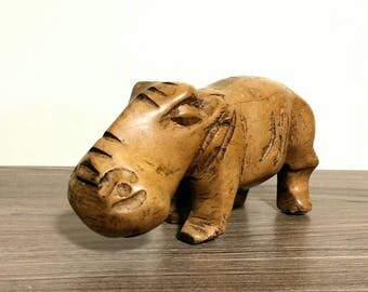 Vintage Carved Hippopotamus Figurine, Wooden Hippo Sculpture, Boho Decor Animal Statue