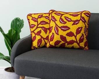 African print pillow 2 set - African pillow cover  -  Afrocentric cushion - African cushion - decorative pillow - Yellow and red floral