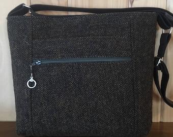 Harris Tweed Purse / Wool Cross Body Purse / Wool Purse / Zip Top Purse  /  Front Zip Pocket / Wool Cross Body Bag / Eco Friendly