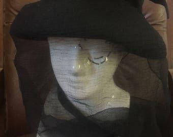Vintage French Veiled Black Mourning Hat