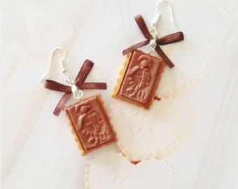 earrings chocolate biscuit polymer clay