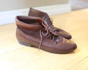 vintage brown leather oxfords ankle boots lace up womens 9 1/2
