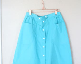 vintage turquoise snap button down pocket skirt *